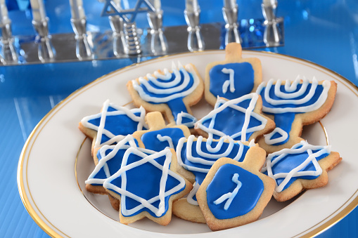 Blue iced cookies for Hanukkah 184371446