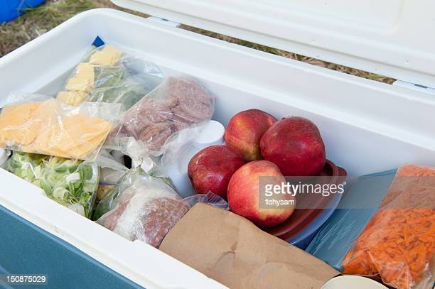 blue igloo cooler, filled with picnic food - esky stock photos and pictures