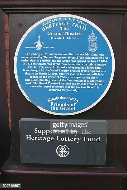 Blue information plaque Grand Theatre Blackpool Lancashire Designed by the Victorian theatre architect Frank Matcham Blackpool's Grand Theatre opened...