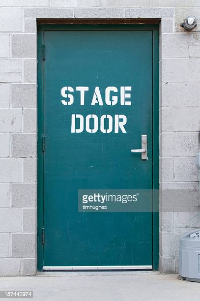 Blue isolated stage door on brick wall