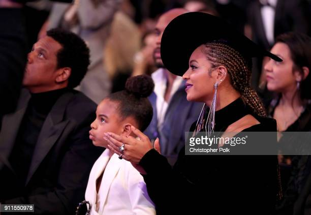 Blue Ivy and Beyonce Knowles attend the 60th Annual GRAMMY Awards at Madison Square Garden on January 28 2018 in New York City