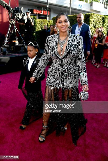 "Blue Ivy Carter and Beyoncé attends the premiere of Disney's ""The Lion King"" at Dolby Theatre on July 09, 2019 in Hollywood, California."