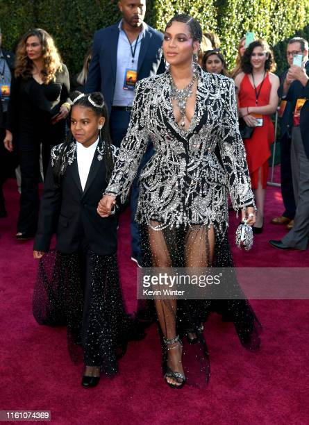 """Blue Ivy Carter and Beyoncé attends the premiere of Disney's """"The Lion King"""" at Dolby Theatre on July 09, 2019 in Hollywood, California."""