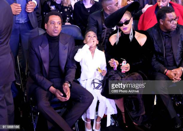 Z Blue Ivy Carter and Beyonce backstage at THE 60TH ANNUAL GRAMMY AWARDS broadcast live on both coasts from New York City's Madison Square Garden on...