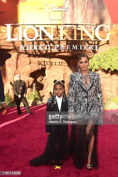 "Blue Ivy Carter and Beyonce Knowles-Carter attend the World Premiere of Disney's ""THE LION KING"" at the Dolby Theatre on July 09, 2019 in Hollywood,..."