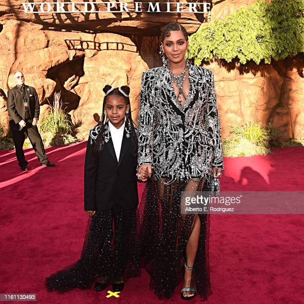 Blue Ivy Carter and Beyonce KnowlesCarter attend the World Premiere of Disney's THE LION KING at the Dolby Theatre on July 09 2019 in Hollywood...