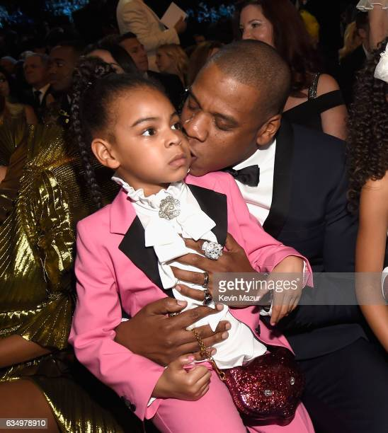 Blue Ivy Carter and Jay Z during The 59th GRAMMY Awards at STAPLES Center on February 12 2017 in Los Angeles California