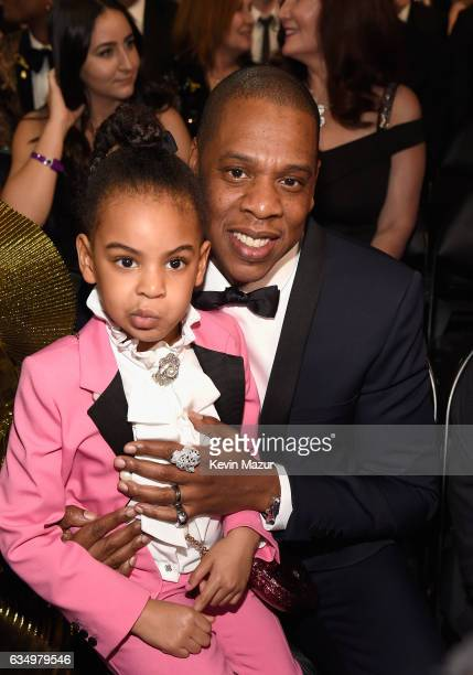 Blue Ivy Carter and Jay Z during The 59th GRAMMY Awards at STAPLES Center on February 12, 2017 in Los Angeles, California.