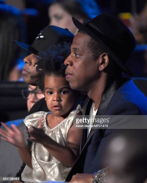 Blue Ivy Carter and Jay Z in the audience watching Beyonce perform during the 2014 MTV Video Music Awards at The Forum on August 24, 2014 in...