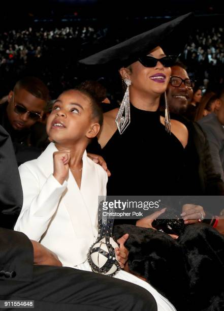 Blue Ivy Carter and recording artist Beyonce attend the 60th Annual GRAMMY Awards at Madison Square Garden on January 28 2018 in New York City