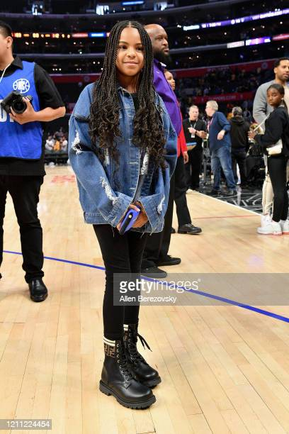 Blue Ivy Carter attends a basketball game between the Los Angeles Clippers and the Los Angeles Lakers at Staples Center on March 08, 2020 in Los...