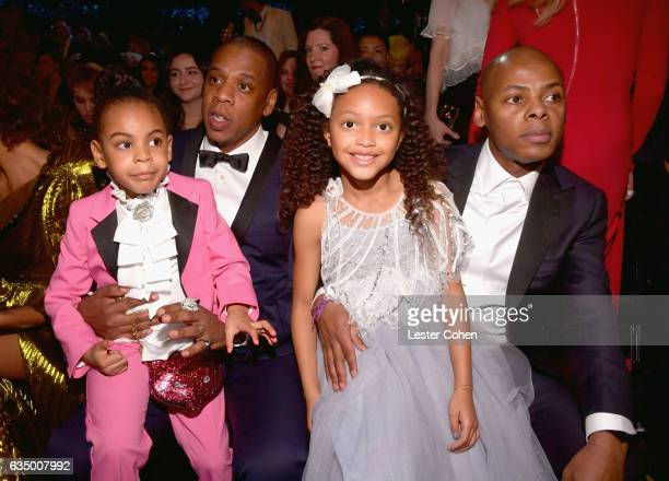 Blue Ivy Carter hip hop artist JayZ and Guests during The 59th GRAMMY Awards at STAPLES Center on February 12 2017 in Los Angeles California