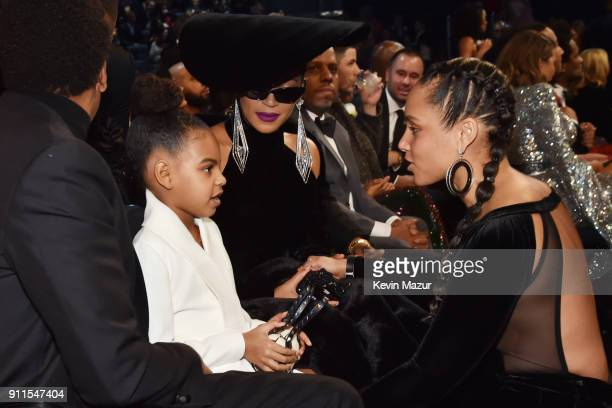 Blue Ivy Carter recording artists Beyonce and Alicia Keys attend the 60th Annual GRAMMY Awards at Madison Square Garden on January 28 2018 in New...