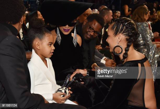Blue Ivy Carter recording artists Beyonce and Alicia Keys during the 60th Annual GRAMMY Awards at Madison Square Garden on January 28 2018 in New...
