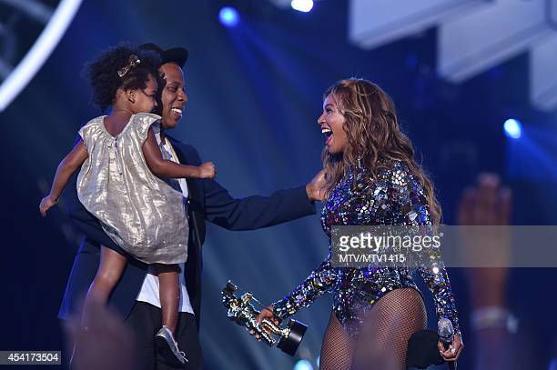 Blue Ivy Carter recording artists Jay Z and Beyonce speak onstage during the 2014 MTV Video Music Awards at The Forum on August 24 2014 in Inglewood...
