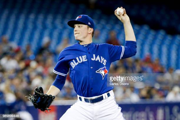 TORONTO ON JULY 2 Blue Jays pitcher Ryan Borucki delivers a pitch during the 2nd inning of MLB action as the Toronto Blue Jays host the Detroit...