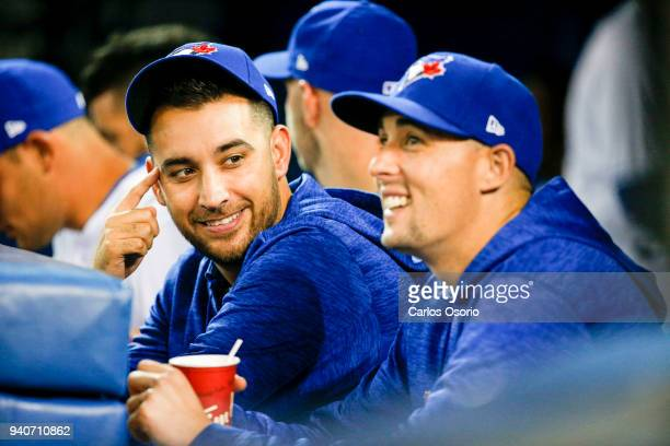 TORONTO ON APRIL 1 Blue Jays pitchers Marco Estrada and Aaron Sanchez in the dugout during the 2nd inning of MLB action as the Toronto Blue Jays host...