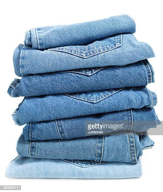 jeans azul dobradas pilha - jeans calça comprida - fotografias e filmes do acervo