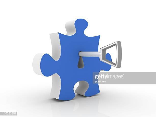 Blue Jigsaw Piece with Key