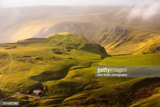 blue john cavern and winnats pass, derbyshire, peak district. uk - hill stock pictures, royalty-free photos & images