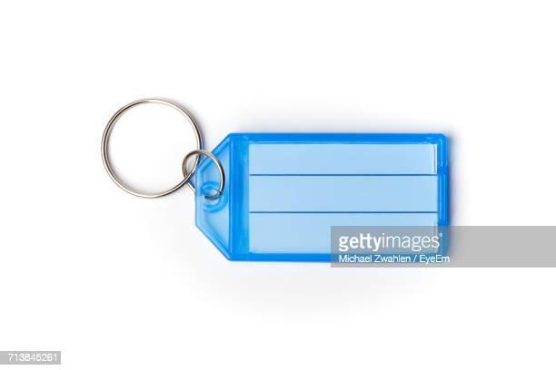 Blue Key Ring Tag On White Background