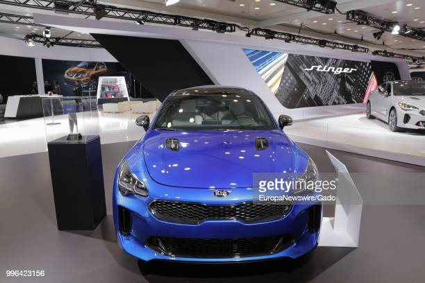 Blue Kia automobile on display at the 2017 New York International Auto Show at Jacob K Javits Convention Center, New York City, April 13, 2017.