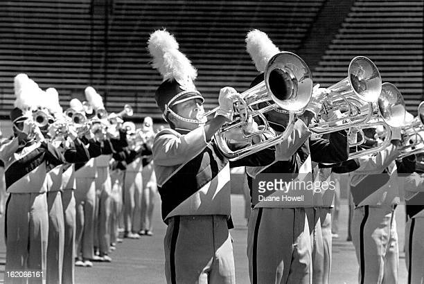 71987 Blue Knights drum and bugle corps during the drums along the Rockies competitions at Folsom stadium in Boulder
