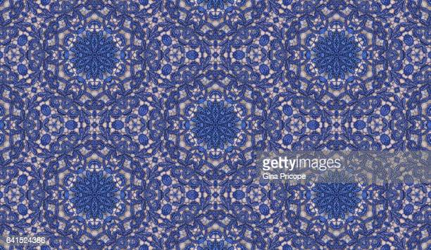 blue lace fabric pattern. - frilly stock photos and pictures