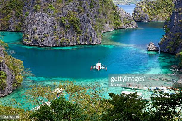 Blue Lagoon at Kayangan Lake, Coron island, Philippines