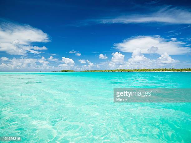 blue lagoon fakarava tuamotu archipelago french polynesia - mlenny stock pictures, royalty-free photos & images