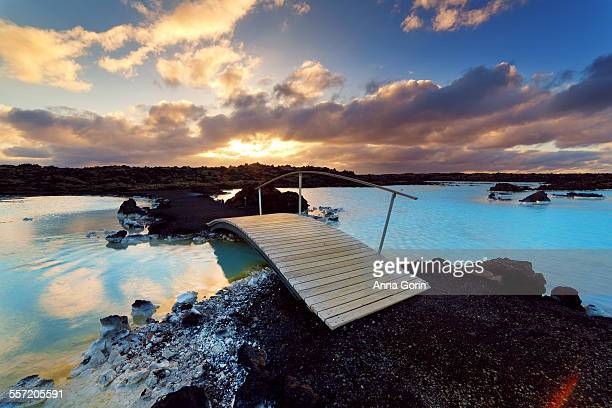 Blue Lagoon footbridge at sunset, Iceland