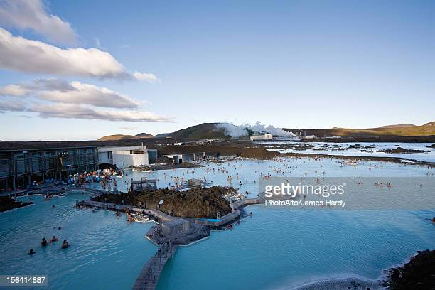 blue lagoon geothermal spa, reykjanes peninsula, iceland - blue lagoon iceland stock pictures, royalty-free photos & images