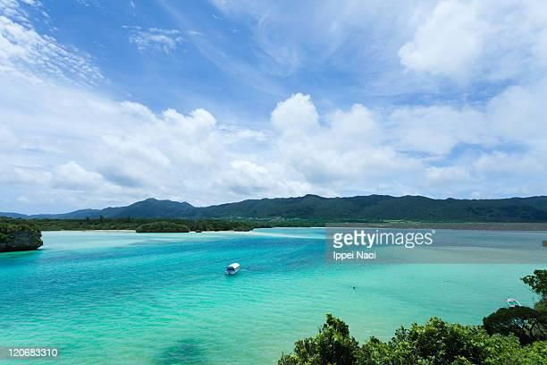 Blue lagoon paradise, tropical island, Okinawa