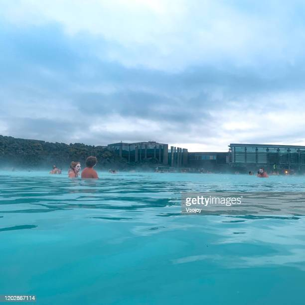 blue lagoon spa ii, iceland. - vsojoy stock pictures, royalty-free photos & images