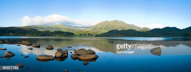 Blue lake, green mountain, clear sky