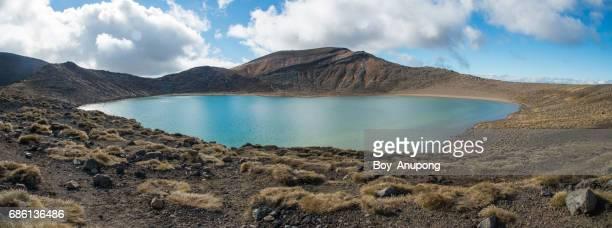 Blue lake in Tongariro national park with panorama view.