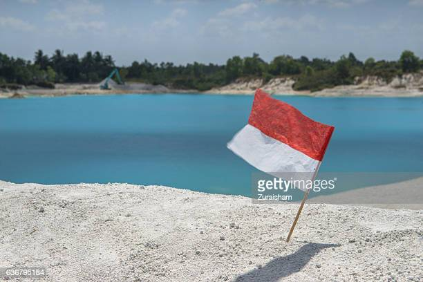 blue lake - indonesia flag stock photos and pictures