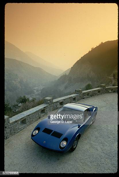 blue lamborghini miura - lamborghini stock pictures, royalty-free photos & images