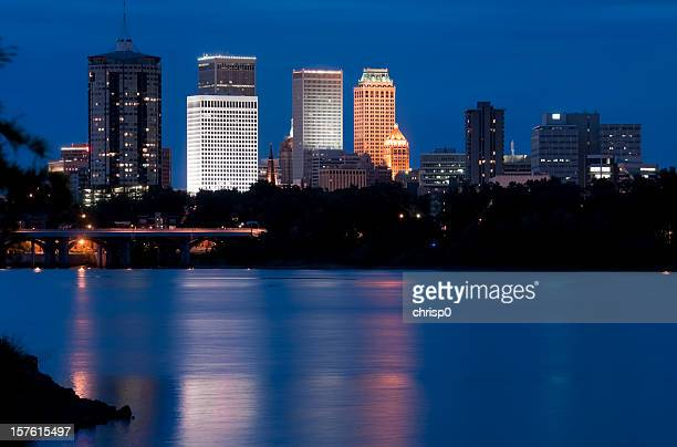 blue landscape of the tulsa, arizona skyline at twilight - tulsa stock pictures, royalty-free photos & images
