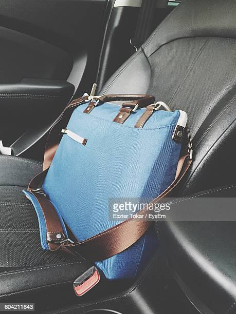 Blue Laptop Bag On Car Seat