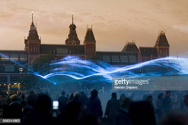 Blue laserlight show at Rijksmuseum