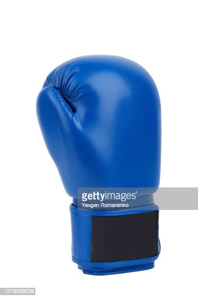 blue leather boxing glove isolated on white - glove stock pictures, royalty-free photos & images