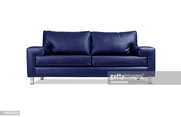 A blue leather sofa with silver legs