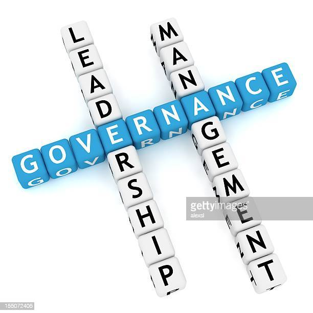 Blue letters spell governance in crossword