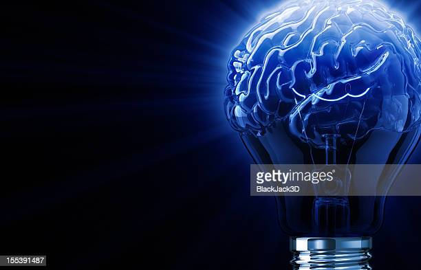 Blue Light Bulb Brain