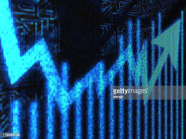 Blue lighted business chart falling and rising