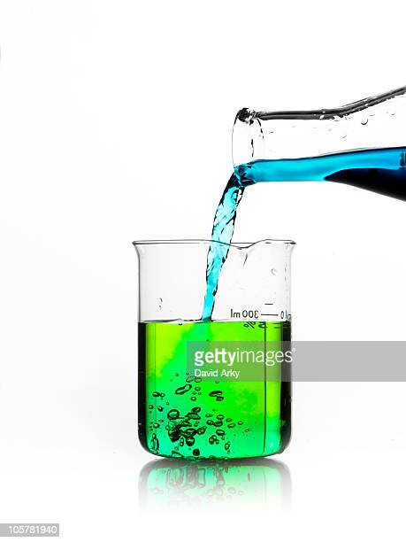 Blue liquid being poured into measuring cup