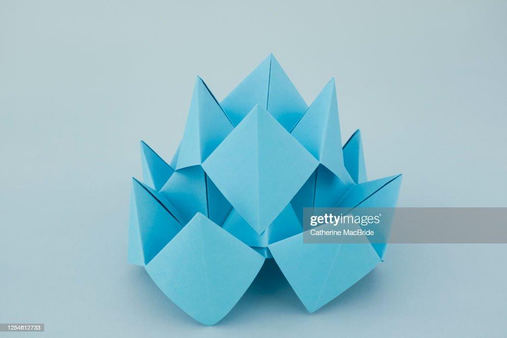 Blue Lotus Origami : Stock Photo