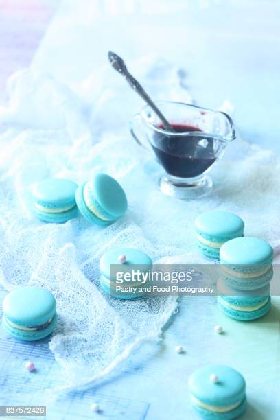Blue Macarons with Cream Cheese and Blueberry Filling