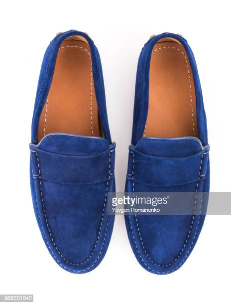 blue male suede leather loafers pair isolated on white background - blue shoe stock pictures, royalty-free photos & images